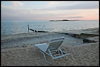 Beach chair at sunset, Westbrook. Connecticut, USA (color)