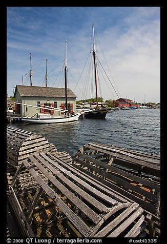 Wooden crab traps and historic ships. Mystic, Connecticut, USA