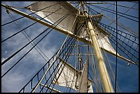 Sails and masts of Charles W Morgan whaleship. Mystic, Connecticut, USA ( color)