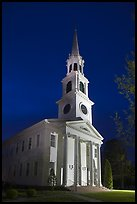 First Congregational Church (1665) at night, Old Lyme. Connecticut, USA ( color)