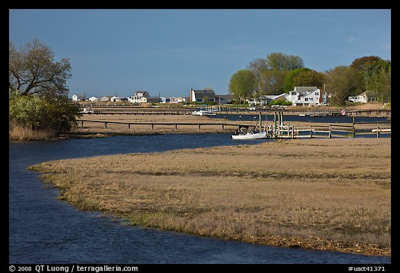 Oyster River, grasses, and houses, Old Saybrook. Connecticut, USA (color)