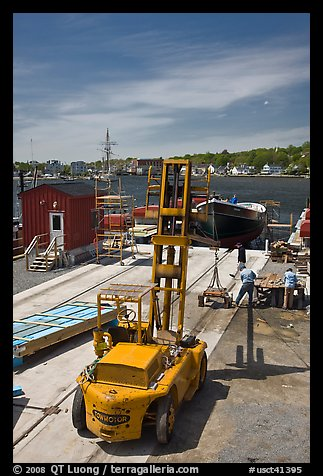 Boat being built at shiplift. Mystic, Connecticut, USA (color)