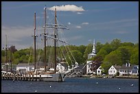 Mystic River, tall ship and village. Mystic, Connecticut, USA ( color)