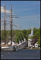 Tall ship and white steepled church. Mystic, Connecticut, USA (color)