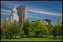 Hartford skyline and Bushnell Park. Hartford, Connecticut, USA (color)