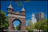 Memorial Arch and skyline. Hartford, Connecticut, USA ( color)