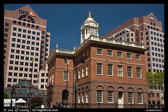 Old State House and downtown high-rise buildings. Hartford, Connecticut, USA (color)