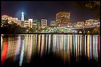 Skyline of Hartford reflected in Connecticut River at night. Hartford, Connecticut, USA ( color)