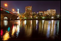 Night skyline and bridge over Connecticut River. Hartford, Connecticut, USA (color)