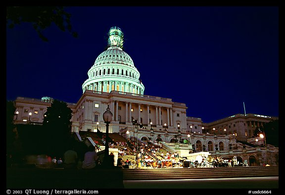 Live concert on the steps of the Capitol at night. Washington DC, USA