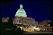 Live concert on the steps of the Capitol at night. Washington DC, USA (color)
