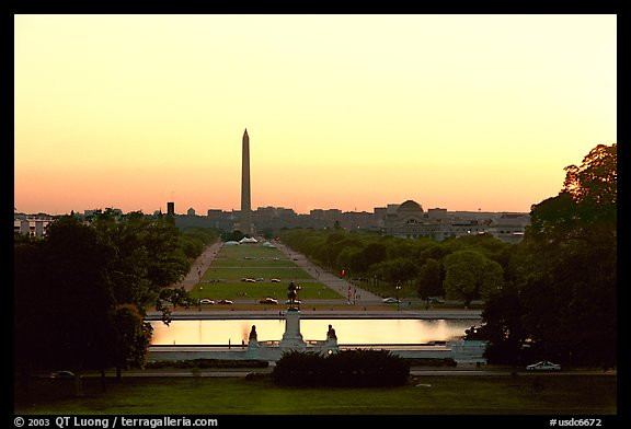 The National Mall and Washington monument seen from the Capitol, sunset. Washington DC, USA (color)