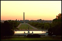 The National Mall and Washington monument seen from the Capitol, sunset. Washington DC, USA