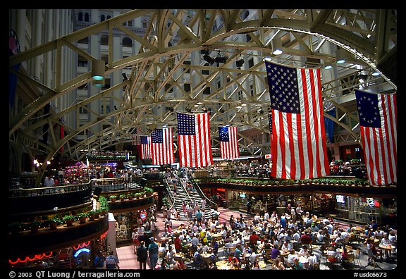 Historic hall with American flags. Washington DC, USA (color)