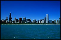 Skyline of the city above Lake Michigan, morning. Chicago, Illinois, USA