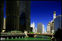Chicago River flowing through downtown. Chicago, Illinois, USA ( color)