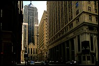 Chicago board of exchange amongst high rises buildings. Chicago, Illinois, USA ( color)