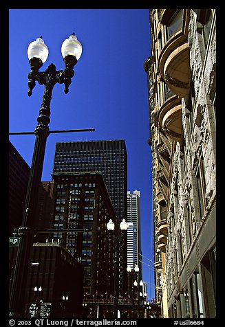 Lamp and buildings. Chicago, Illinois, USA (color)
