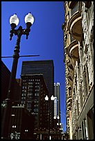 Lamp and buildings. Chicago, Illinois, USA ( color)