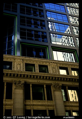 Reflections in a building facade. Chicago, Illinois, USA (color)