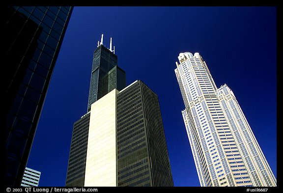 Sears tower and other skyscrappers towering in the sky. Chicago, Illinois, USA (color)