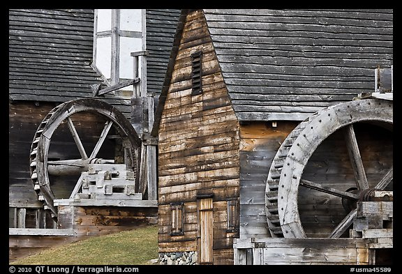 Waterwheels on mill and forge, Saugus Iron Works National Historic Site. Massachussets, USA (color)