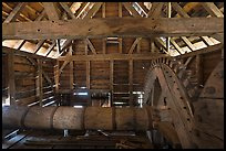 Waterwheel shaft inside forge, Saugus Iron Works National Historic Site. Massachussets, USA (color)
