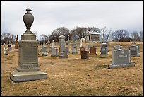 Tombstones in open cemetery space. Salem, Massachussets, USA (color)
