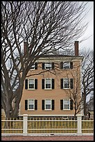 Bare trees and Hawkes House, Salem Maritime National Historic Site. Salem, Massachussets, USA ( color)