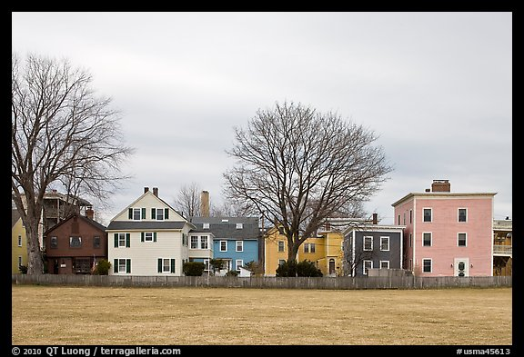 Row of pastel houses. Salem, Massachussets, USA (color)
