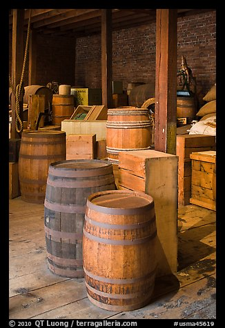 Interior of public stores warehouse, Salem Maritime National Historic Site. Salem, Massachussets, USA