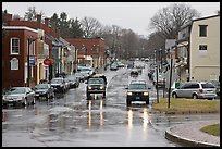 Main street in the rain, Concord. Massachussets, USA