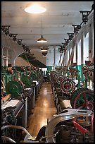 Power looms, Boott Cottom Mills Museum, Lowell National Historical Park. Massachussets, USA ( color)