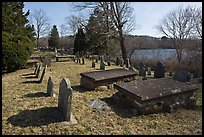 Cemetery and pond, Sandwich. Cape Cod, Massachussets, USA ( color)