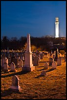 Cemetery and Pilgrim Monument by night, Provincetown. Cape Cod, Massachussets, USA (color)