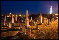 Cemetery and Pilgrim Monument at night, Provincetown. Cape Cod, Massachussets, USA ( color)