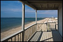 Porch and beach, Truro. Cape Cod, Massachussets, USA (color)