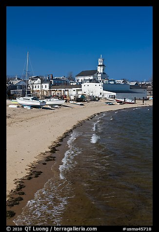 Beach, boats, and church building, Provincetown. Cape Cod, Massachussets, USA (color)