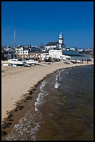 Beach, boats, and church building, Provincetown. Cape Cod, Massachussets, USA ( color)