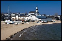 Yachts on beach and church, Provincetown. Cape Cod, Massachussets, USA ( color)