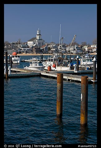 Harbor and church building, Provincetown. Cape Cod, Massachussets, USA (color)