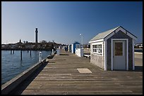 Pier and Pilgrim Monument, Provincetown. Cape Cod, Massachussets, USA (color)