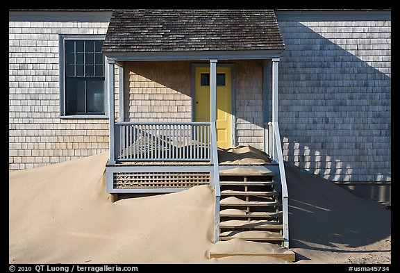 Porch and sands, Old Harbor life-saving station, Cape Cod National Seashore. Cape Cod, Massachussets, USA (color)