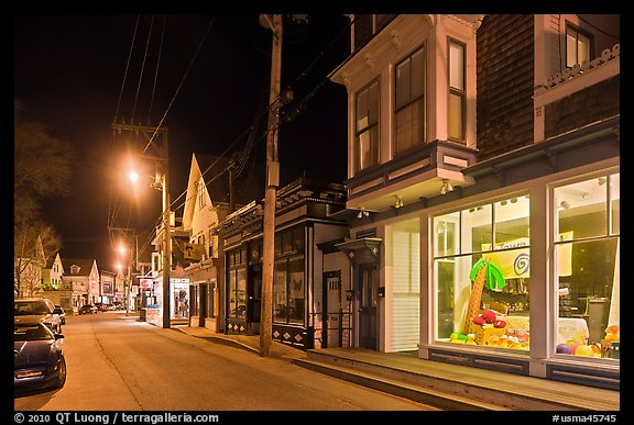 Commercial street by night, Provincetown. Cape Cod, Massachussets, USA (color)