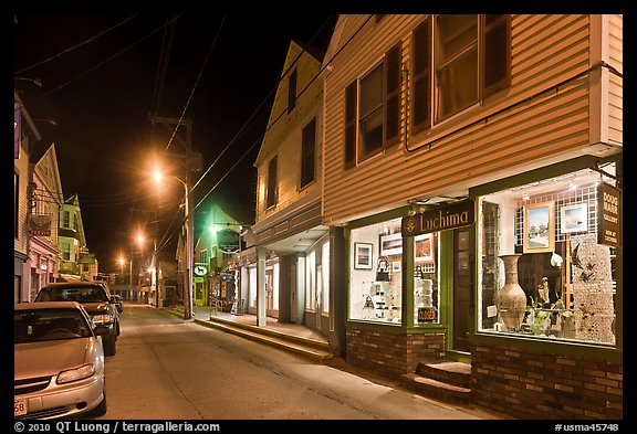 Art gallery and street by night, Provincetown. Cape Cod, Massachussets, USA (color)