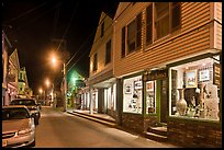 Art gallery and street by night, Provincetown. Cape Cod, Massachussets, USA ( color)