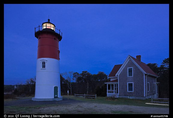Nauset Light by night, Cape Cod National Seashore. Cape Cod, Massachussets, USA (color)