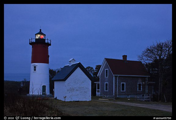 Nauset lighthouse at dawn, Cape Cod National Seashore. Cape Cod, Massachussets, USA (color)