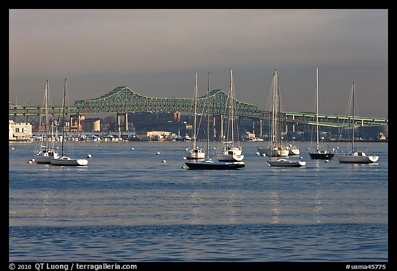 Harbor with anchored boats and bridge. Boston, Massachussets, USA (color)