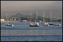 Harbor with anchored boats and bridge. Boston, Massachussets, USA ( color)